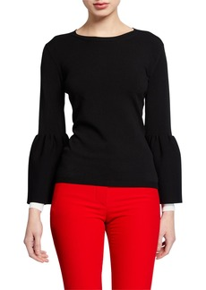 Valentino Long-Sleeve Tulip-Cuff Sweater
