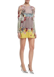 Valentino Long-Sleeve Tulle Cocktail Dress with Embellishments