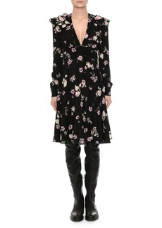 Valentino Long-Sleeve V-Neck Floral Crepe Dress