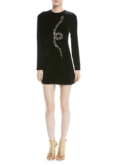 Valentino Long-Sleeve Velvet Cocktail Dress w/ Embellished Snake