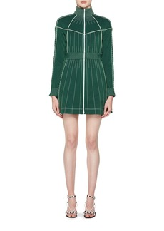 Valentino Long-Sleeve Zip-Front Fitted Short Dress with Contrast Topstitching