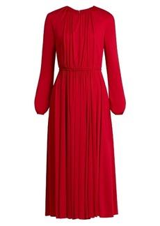 Valentino Long-sleeved gathered jersey midi dress