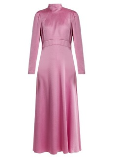 Valentino Long-sleeved hammered-satin dress