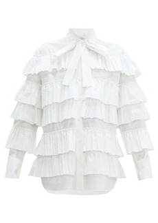 Valentino Long-sleeved ruffled cotton blouse