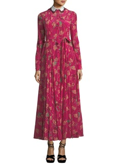 Lotus-Print Silk Gown with Removable Collar