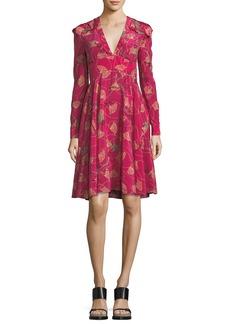 Valentino Lotus-Print Silk V-Neck Dress