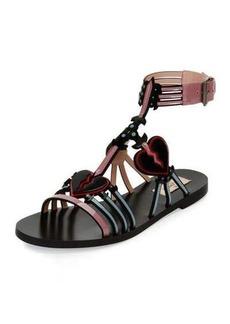 Valentino Love Blade Caged Flat Sandal
