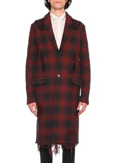 Valentino Love Blade Distressed Plaid Single-Breasted Overcoat