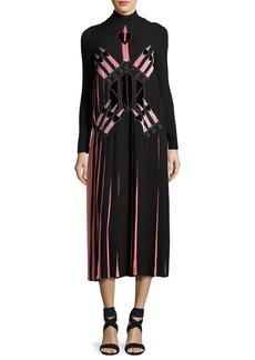 Valentino Love Blade Pleated Long-Sleeve Dress