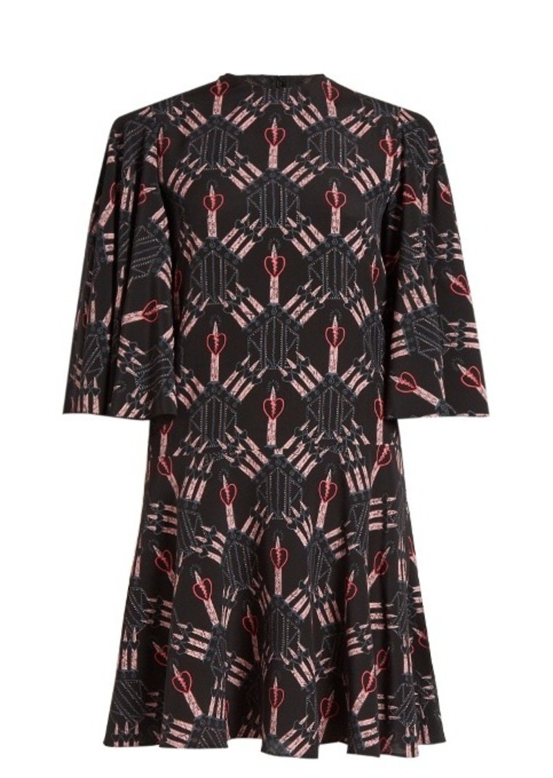 Valentino Love Blade-print mini silk dress
