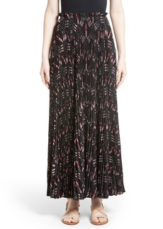 Valentino Love Blade Print Pleated Maxi Skirt