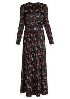 Valentino Love Blade-print satin-crepe gown