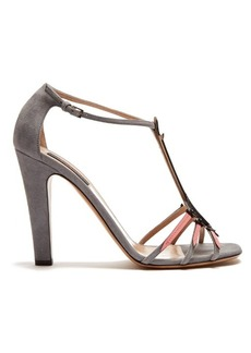 Valentino Love Blade suede and patent-leather sandals