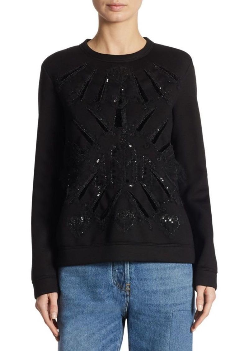 Valentino Love Blades Velvet-Embroidered Sweatshirt