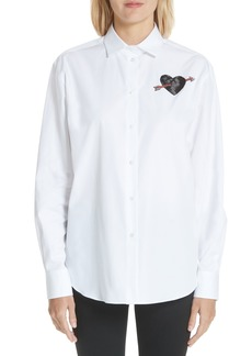 Valentino Love Story Embroidered Heart Poplin Blouse