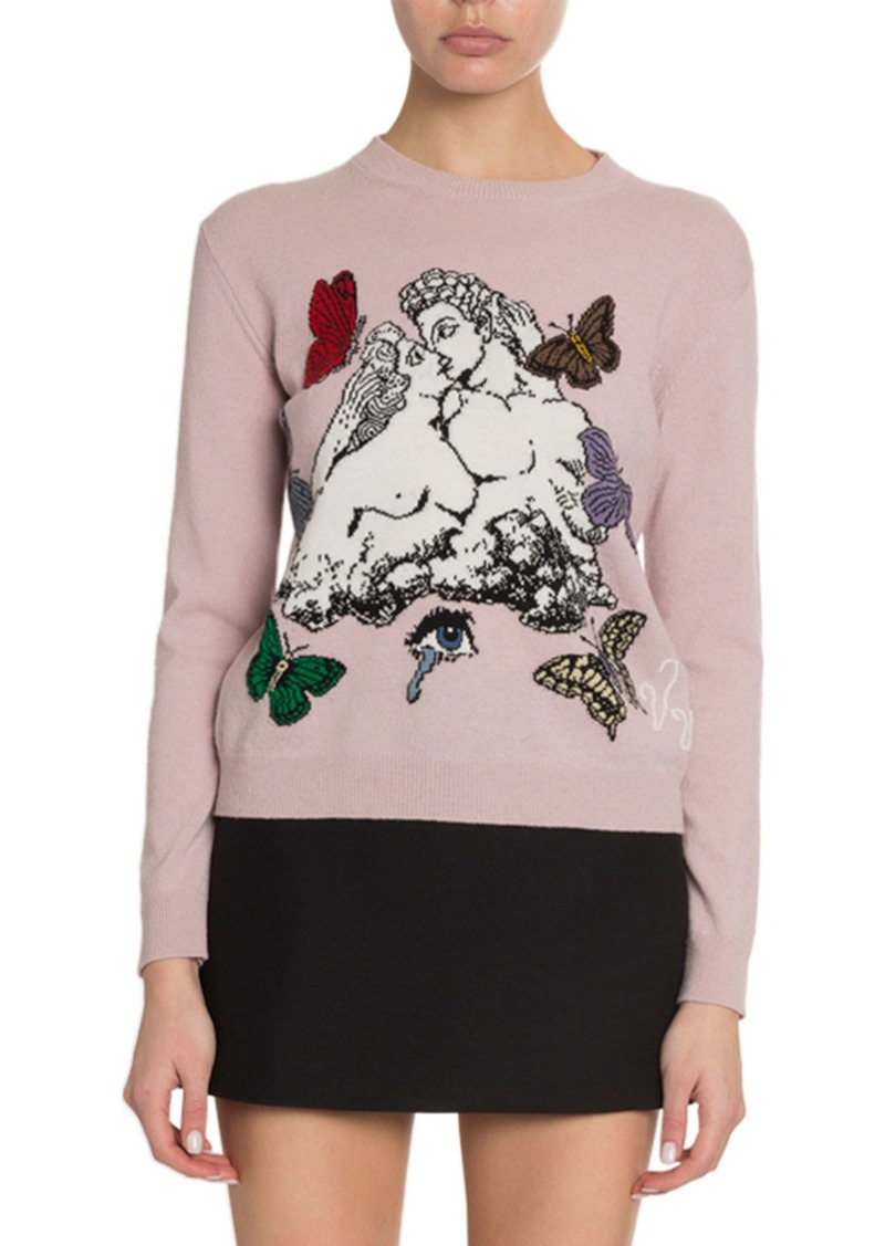 Valentino Lover & Butterfly Embroidered Sweater