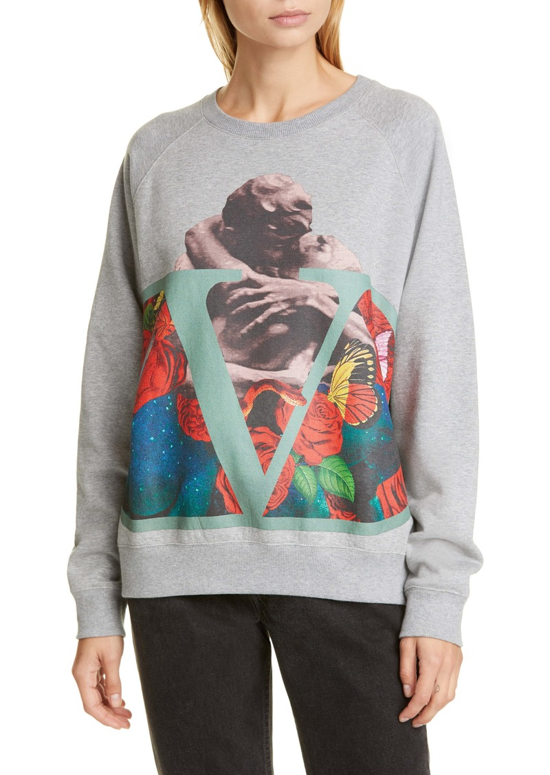 Valentino Lovers Print Cotton Blend Sweatshirt