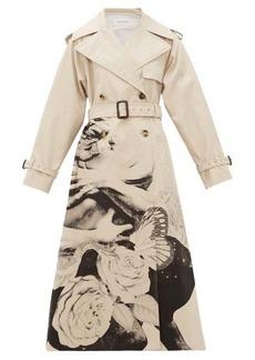 Valentino Lovers-print cotton-gabardine trench coat