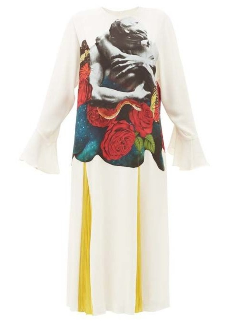 Valentino Lovers-print silk-georgette dress