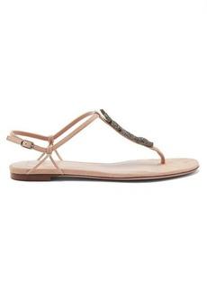Valentino Garavani Maison Snake crystal-embellished suede sandals