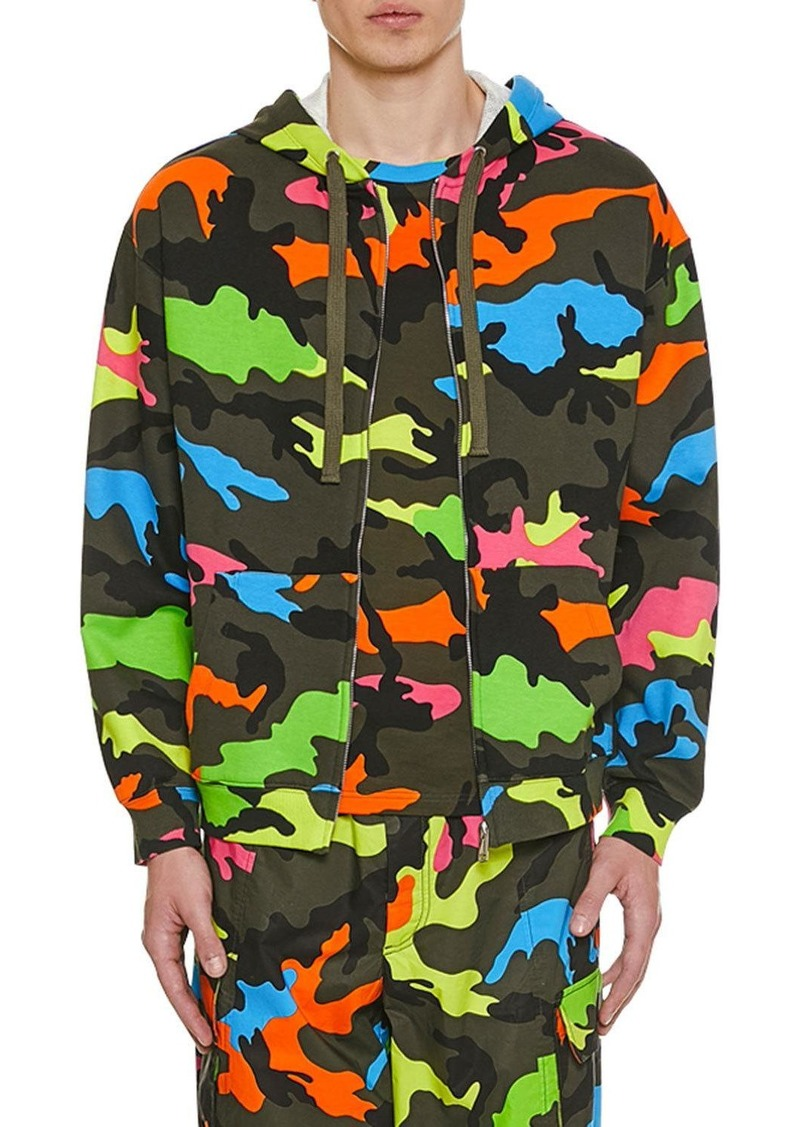 Valentino Men's Neon Camo Front-Zip Hoodie