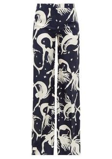 Valentino Mermaid-print silk-twill wide-leg trousers