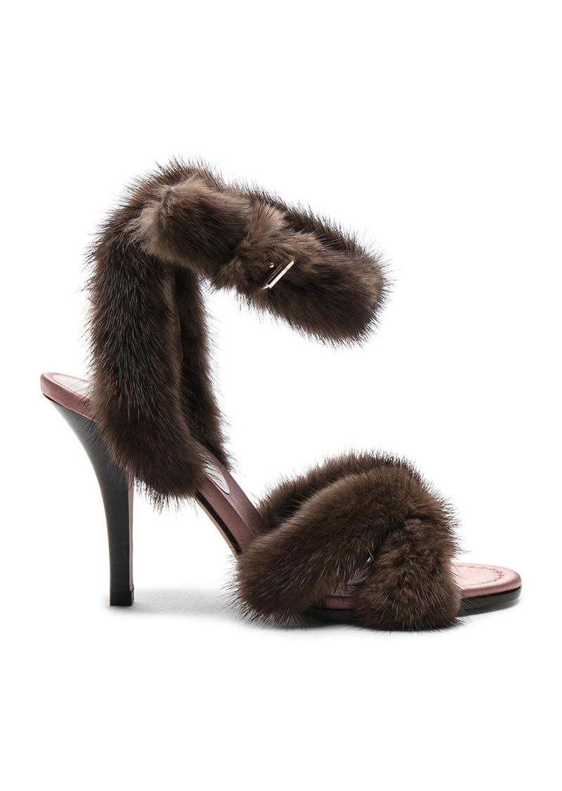 2a2f4de7c3ee Valentino Valentino Mink Fur Ankle Strap Heels