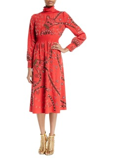 Valentino Mock-Neck Long-Sleeve Beaded-Embroidered Silk Mid-Calf Dress