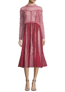 Valentino Mock-Neck Ruffled Lace Midi Dress