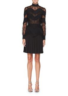Valentino Mock-Neck Wavy Lace Dress