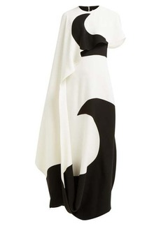 Valentino Moon-print asymmetric cape silk gown