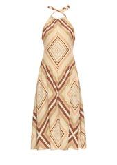 Valentino Native Couture 1975-print halterneck silk dress