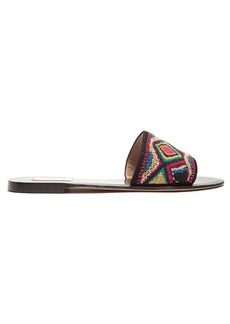 Valentino Native Couture bead-embellished leather slides