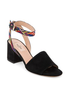 Valentino Native Embroidered Suede Block-Heel Sandals