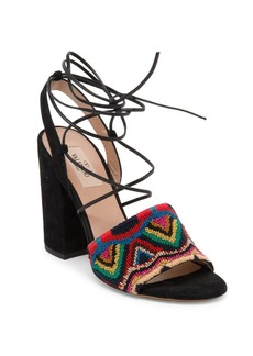 VALENTINO GARAVANI Native Embroidered Suede Lace-Up Ankle-Wrap Sandals
