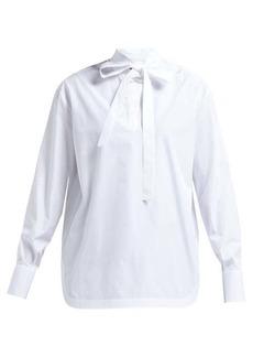 Valentino Neck-tie cotton-blend poplin shirt
