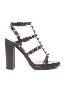 Valentino Noir Rockstud Leather Gladiator Heels T.95