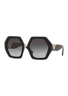Valentino Octagonal Acetate V-Inset Sunglasses