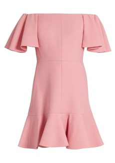 Valentino Off-the-shoulder crepe mini dress