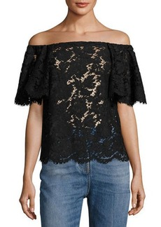 Valentino OFF SHOULDER HEAVY LACE BLOU