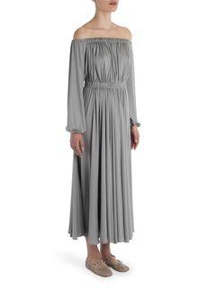 Valentino Off-The-Shoulder Silk Dress