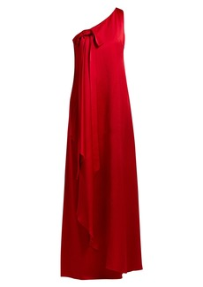 Valentino One-shoulder hammered silk gown