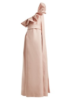 Valentino One-shoulder silk bow dress