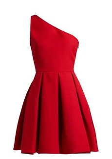 Valentino One-shoulder wool-blend skater dress