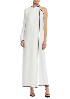 Valentino One-Sleeve Cady Couture A-Line Evening Gown w/ Contrast Edges
