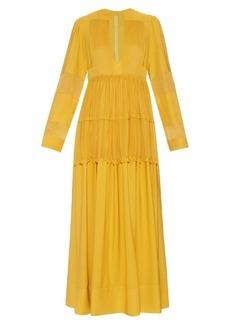 Valentino Open-neck silk-georgette dress