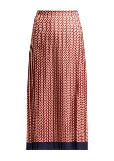 Valentino Optical-print pleated midi skirt