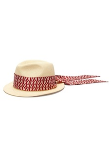 Valentino Optical-print scarf straw trilby hat