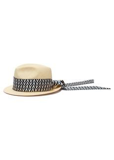 Valentino Optical-print scarf straw trilby hat