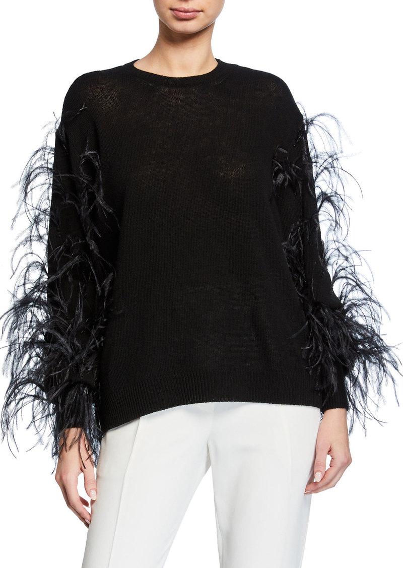 Valentino Ostrich Feather Cashmere Sweater